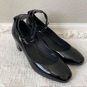 Free People Black Mary Jane Ankle Strap Block Heel
